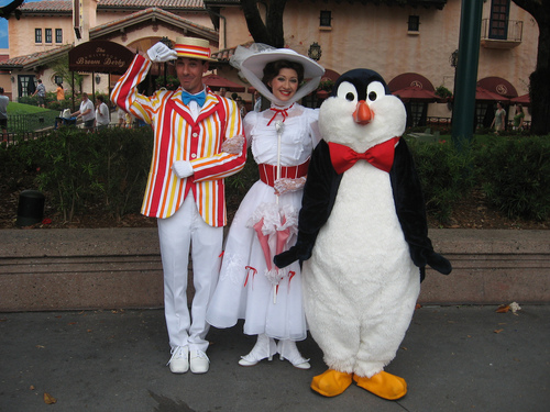 Dapper Days Costumed Bert and Mary Poppins with Penguin