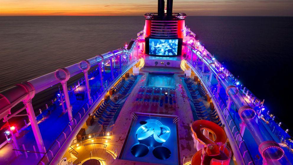 Disney Cruise Ship Neon Lit Evening Pool View