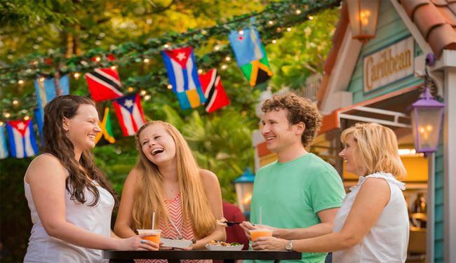 People Eating Drinking Flags
