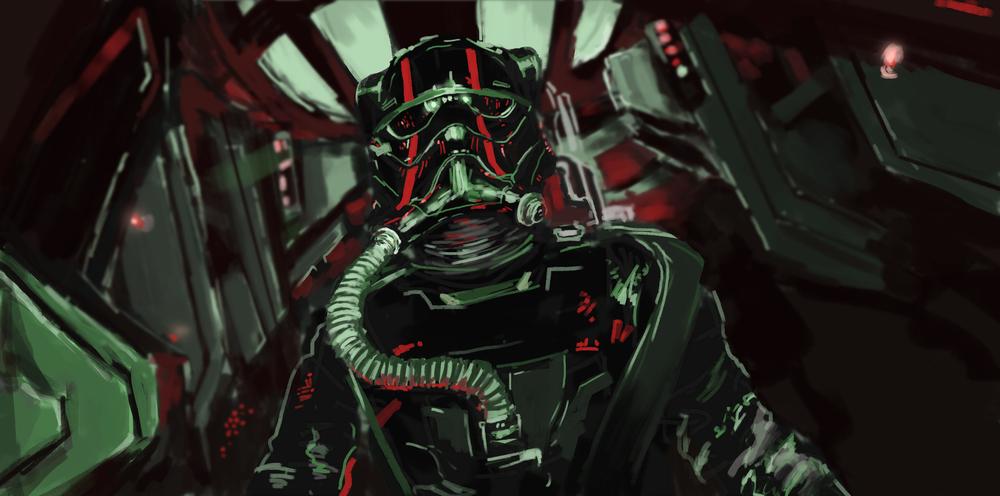WDW HS Star Wars Land First Order Dark Ride Fighter Pilot closeup view