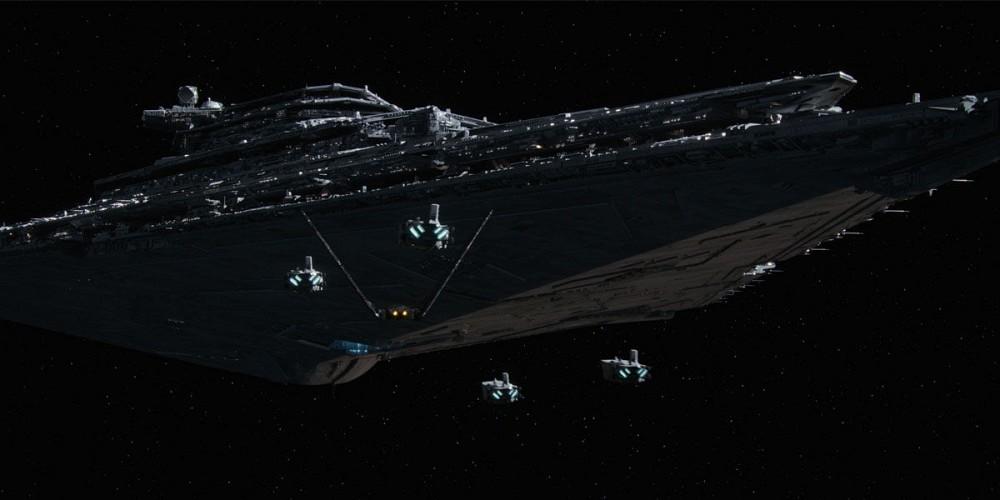 WDW HS Star Wars Land First Order Dark Ride Spaceship Night view