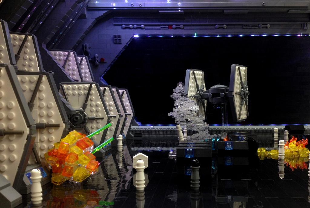 WDW HS Star Wars Land First Order Dark Ride the Hangar view