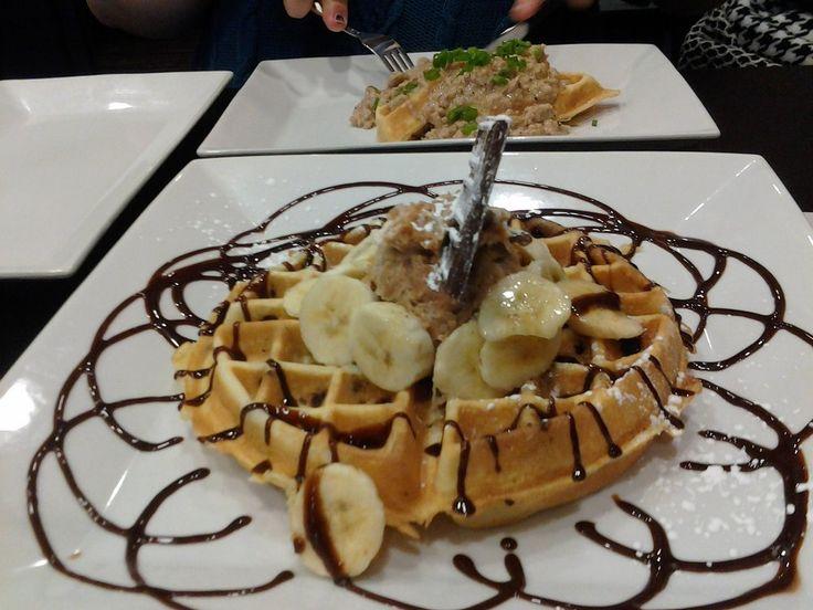 Waffles with bananas chocolate